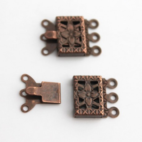 3 Strand Box Clasp - Copper Tone