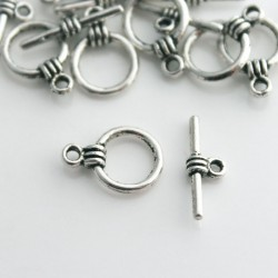 Antique Silver Tone 11mm Toggle Clasp