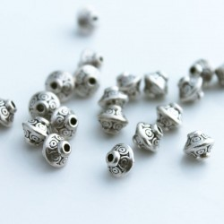 6mm Metal Bicone Beads - Antique Silver Tone
