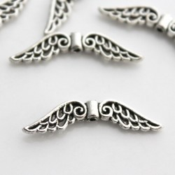 31mm Angel Wing Beads - Antique Silver Tone