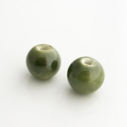 14mm Round Ceramic Beads Olive Green - Pack of 2