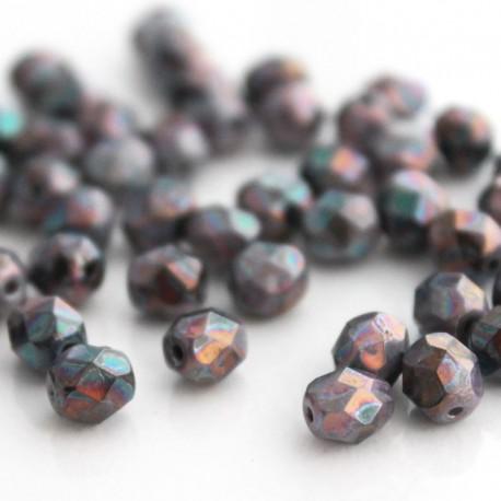 6mm Fire Polished Czech Glass Beads - Lilac Bronze Iris Lustre