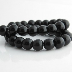 8mm Black Round Glass Beads