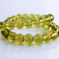 8mm Olive Green Round Glass Beads