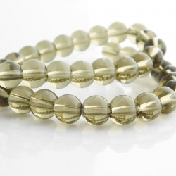 8mm Smoky Topaz Round Glass Beads