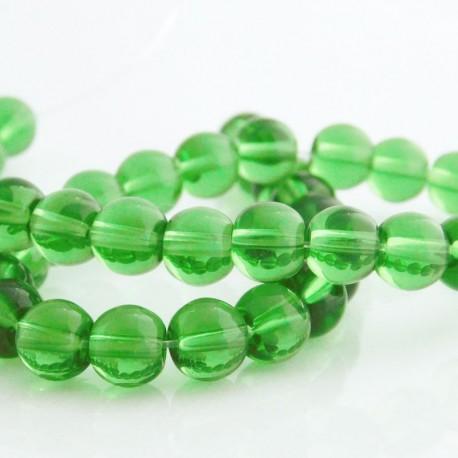 8mm Green Round Glass Beads