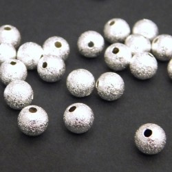 6mm Silver Plated Brass Stardust Beads - Pack of 25