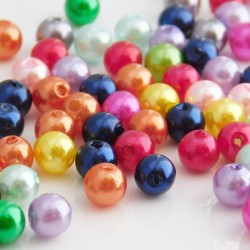 Faux Pearl Acrylic Beads 6mm Mixed Colours Round