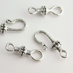 Ornate Hook and Eye Clasp - Antique Silver Tone