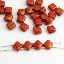 Czech Glass Silky 2-Hole Beads 6mm - Red Gold Terracotta Lustre