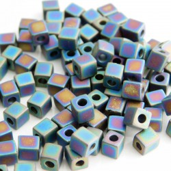 Miyuki Cube Beads 4mm - Opaque Frosted Rainbow Black