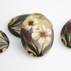 Glass Oval Floral Cabochons 25mm x 18mm