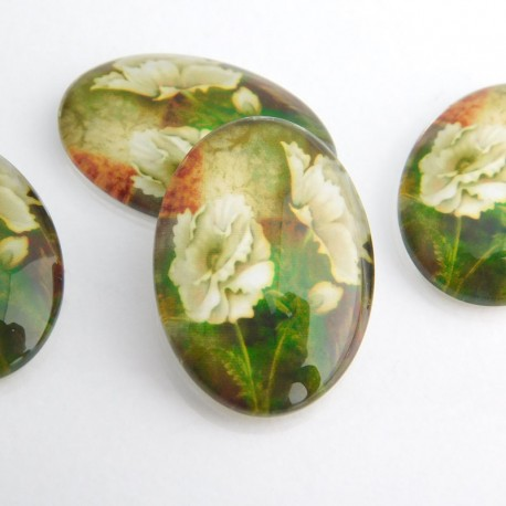 Glass Oval White Poppy Cabochons 25mm x 18mm
