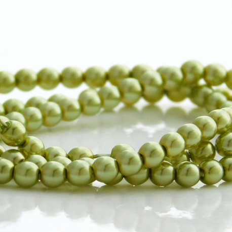 4mm Czech Glass Pearl Beads - Olivine