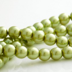 6mm Czech Glass Pearl Beads - Olivine