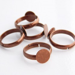 Copper Tone Adjustable Ring Blanks - 14mm