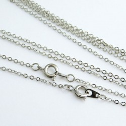 "Silver Tone Brass Fine Cable Chain Necklace - 45cm (18"")"