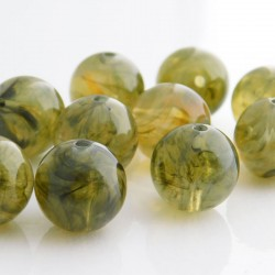 14mm Round Acrylic Beads - Imitation Moss Agate