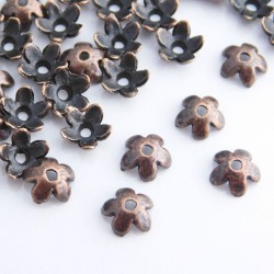 6mm Copper Tone Bead Caps - Flower