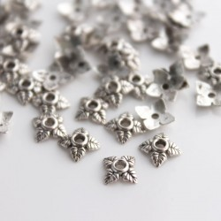 6mm Antique Silver Tone Bead Cap - Leaf