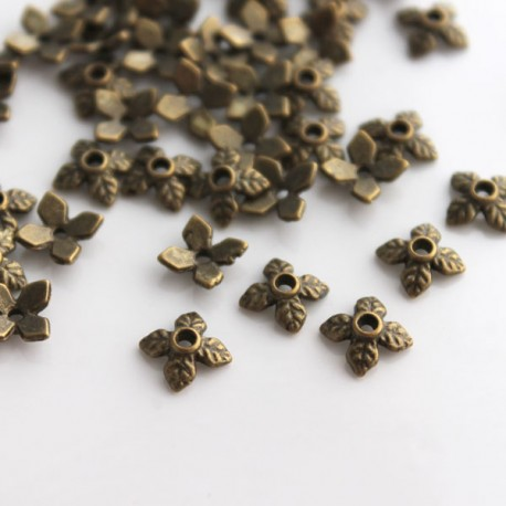 6mm Bronze Tone Bead Cap - Leaf