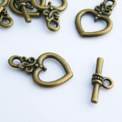 Bronze Tone Heart Toggle Clasp