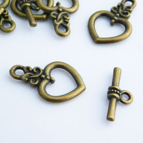 Bronze Tone Heart Toggle Clasp
