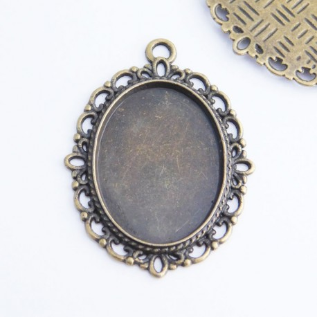 Oval Cabochon Settings - Bronze Tone