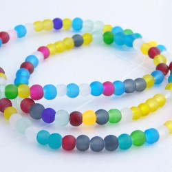 4mm Frosted Glass Beads - Mixed Colours
