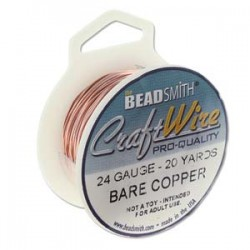24 Gauge Beadsmith Nickel Free Craft Wire - Bare Copper