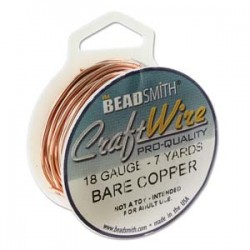 18 Gauge Beadsmith Nickel Free Craft Wire - Bare Copper