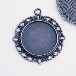 Round Cabochon Settings - Antique Copper Tone
