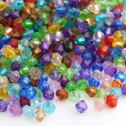 5mm Acrylic Bicone Beads - Mixed Colours