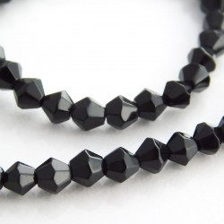4mm Glass Bicone Beads - Black