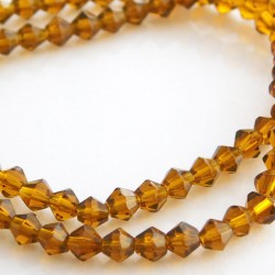 4mm Glass Bicone Beads - Brown