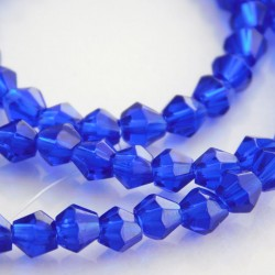 4mm Glass Bicone Beads - Cobalt Blue