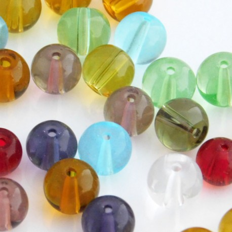Mixed Colour Round Glass Beads