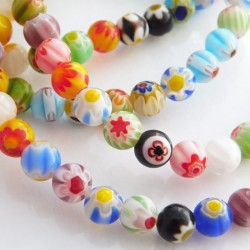 6mm Millefiori Round Glass Beads - Single Flower Pattern