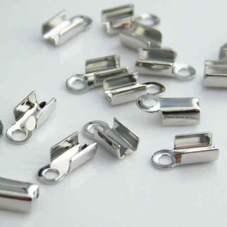 9mm Fold Over Cord Ends - Silver Tone