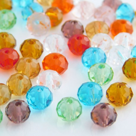 4mm x 6mm Crystal Glass Rondelles - Mixed Colours