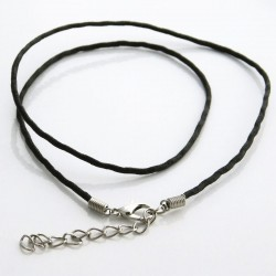 44cm Black Waxed Cord Necklace With Extension Chain
