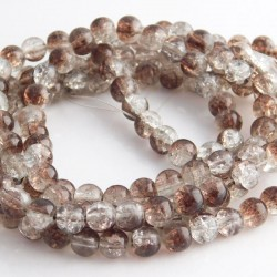 6mm Brown and Clear Crackle Glass Beads (79cm strand)