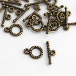 Bronze Tone Small Toggle Clasps - Pack of 10 sets