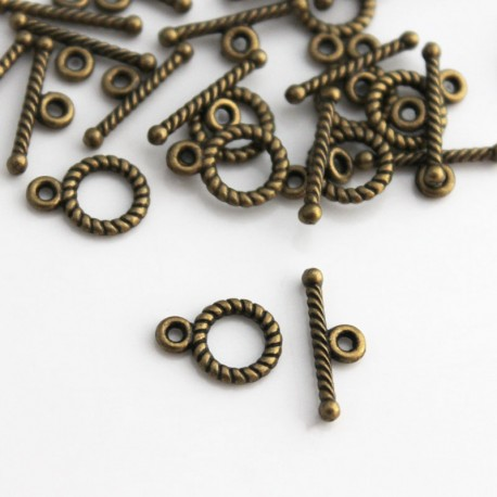 15 Sets Antique Bronze TOGGLE CLASPS