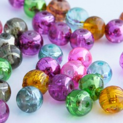 8mm Drawbench Glass Beads - Mixed Metallic