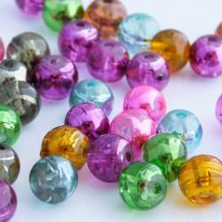 8mm Drawbench Glass Beads - Mixed Metallic