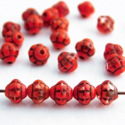 6mm Small Saturn Czech Glass Beads - Red