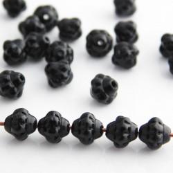 6mm Small Saturn Czech Glass Beads - Jet Black