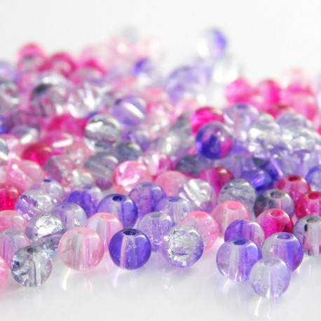 4mm Crackle Glass Beads - Pink & Purple Mix