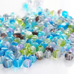 4mm Crackle Glass Beads - Mixed Colours